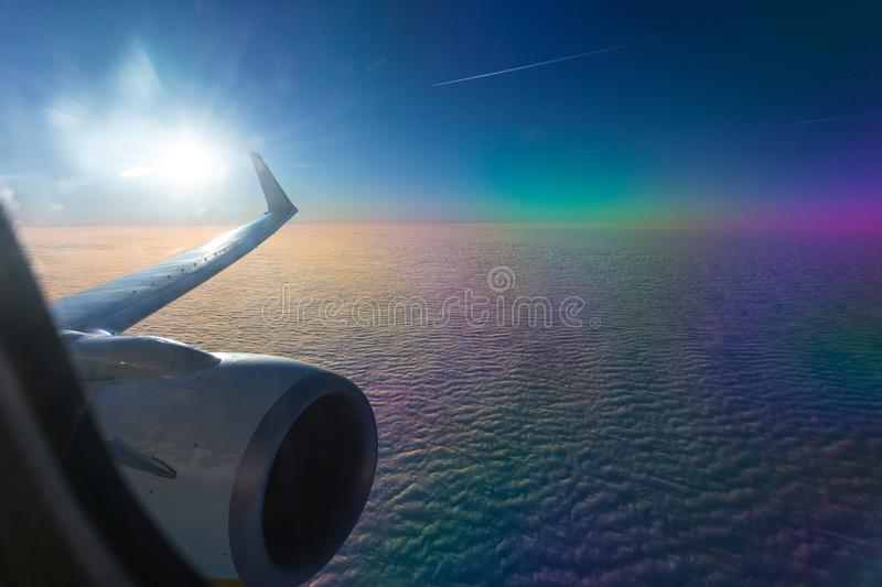 Traveling to Fuerteventura with airplane royalty free stock photos