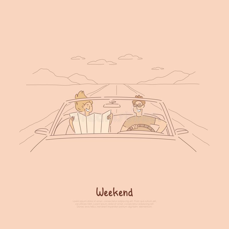Traveling together by car, couple on road trip, looking at map to find way, summer vacation, holiday in cabriolet banner vector illustration