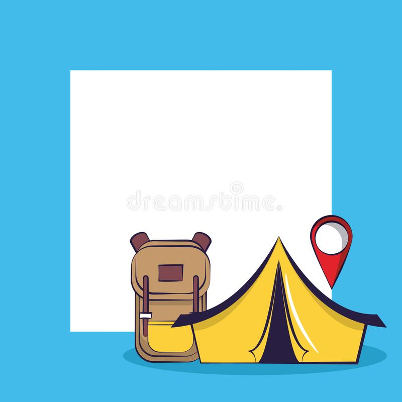 Traveling tourism exciting trip card squared frame background vector illustration