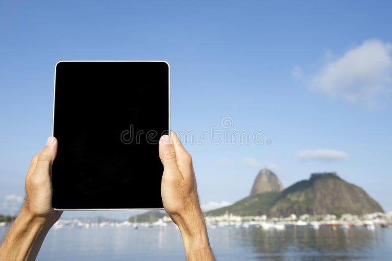 Download Traveling Tourist Using Tablet At Sugarloaf Rio De Janeiro Brazil Stock Photo - Image: 36400064