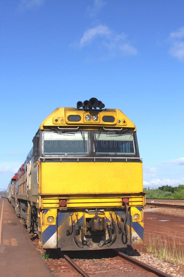Long distance train for public transport in the Australian Outback, Australia. Traveling by long distance train in the Australian Outback. This train is waiting royalty free stock images