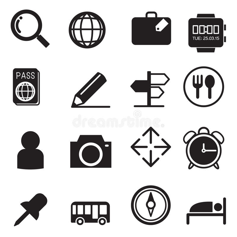 Traveling and transport silhouette icons set royalty free illustration