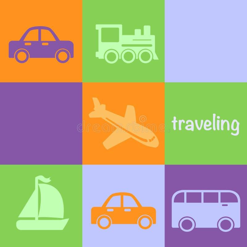 Traveling transportation icons stock illustration