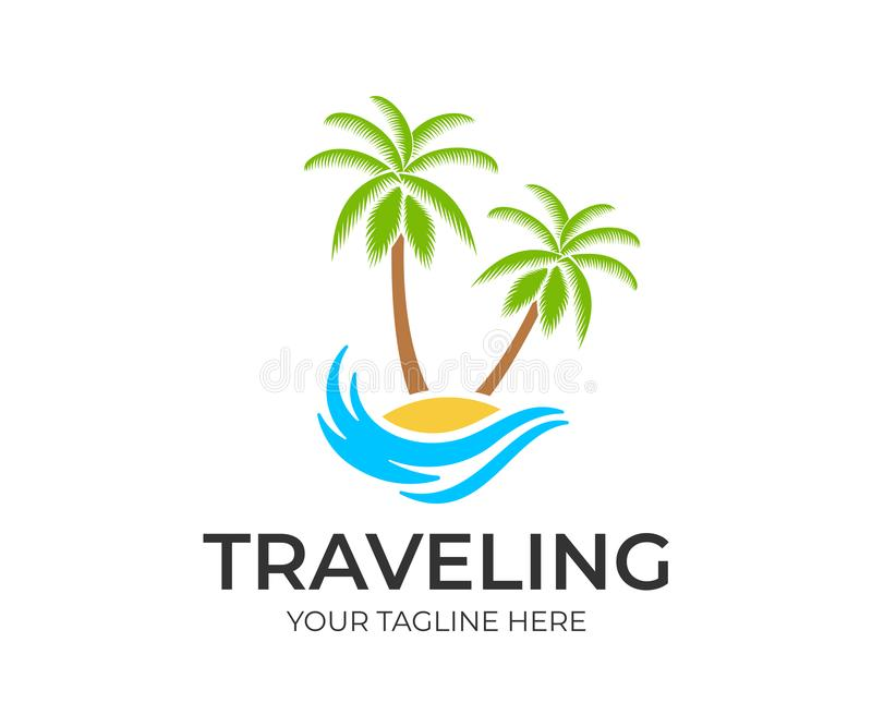 Traveling, travel, beach and palm trees on island with wave, logo template. Journey, recreation and vacation at resort and tropica. L islands, vector design stock illustration