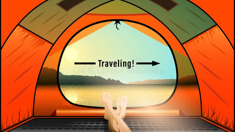Traveling, view from the orange tent on a beautiful nature landscape. vector illustration