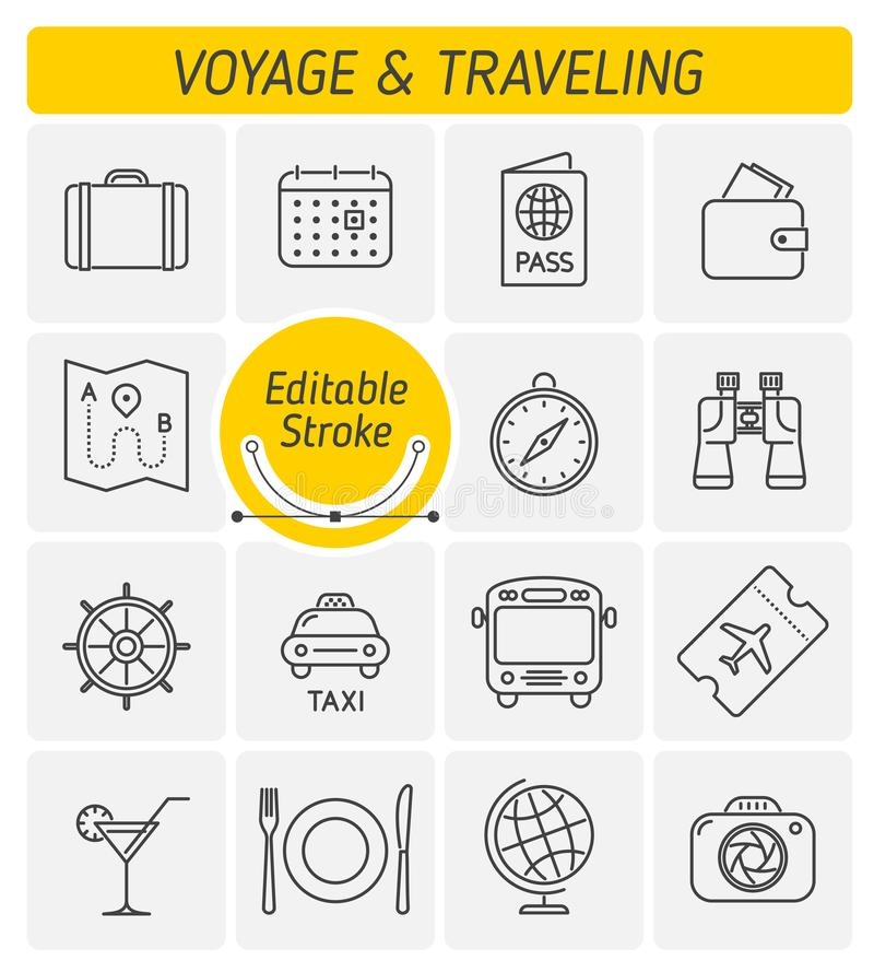 The traveling and voyage outline vector icon set royalty free stock photography