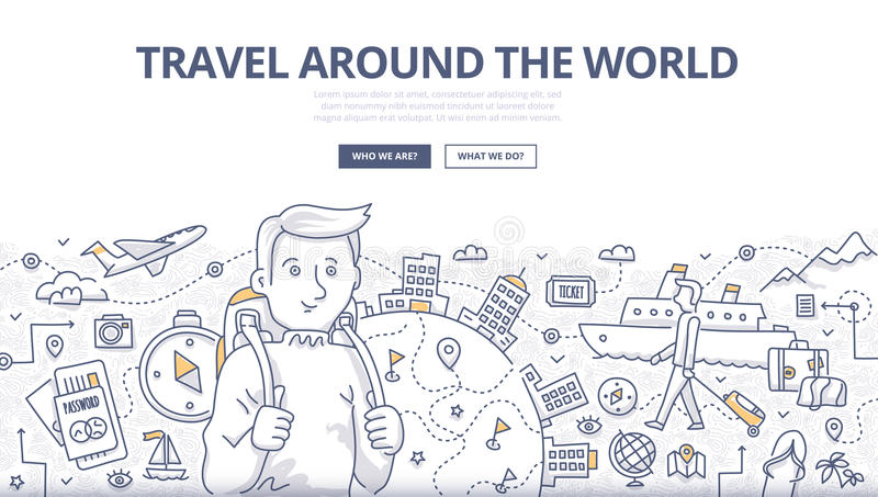 Traveling the World Doodle Concept vector illustration