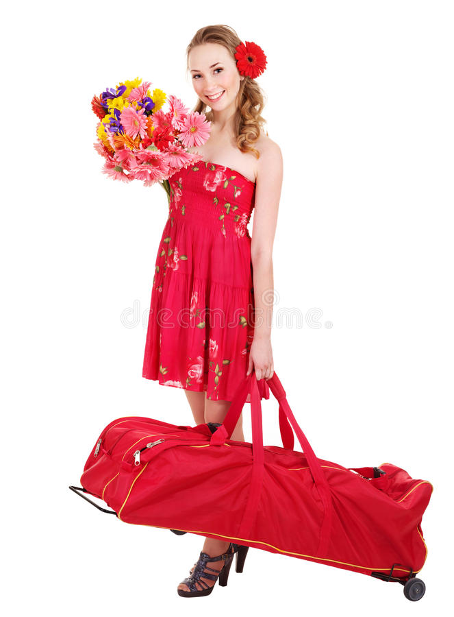 Download Traveling Young Woman With Wheeled Luggage Stock Photo - Image: 18599488