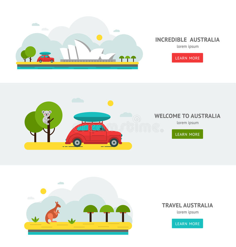 Travell Roads in Australia. Road Trip on Car. royalty free illustration