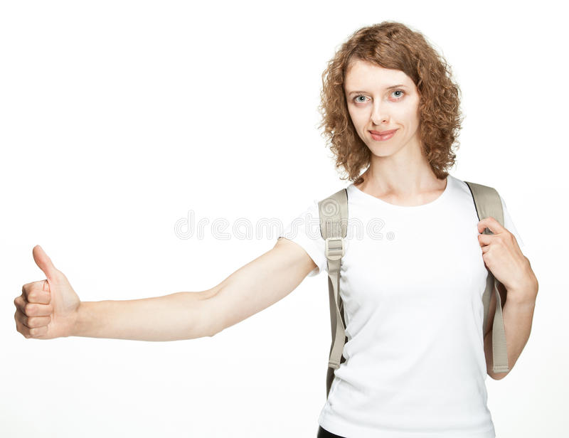 Traveller hitchhiking. On white background stock photos