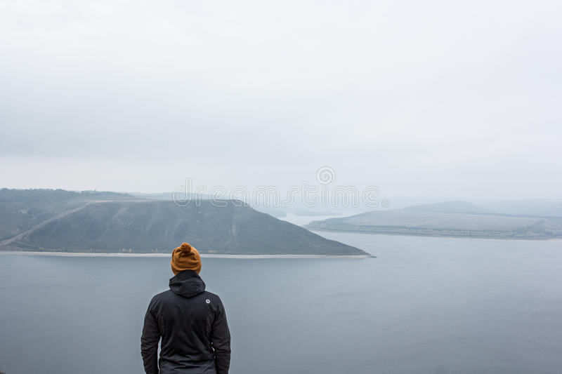 Traveller looking at landscape royalty free stock photos