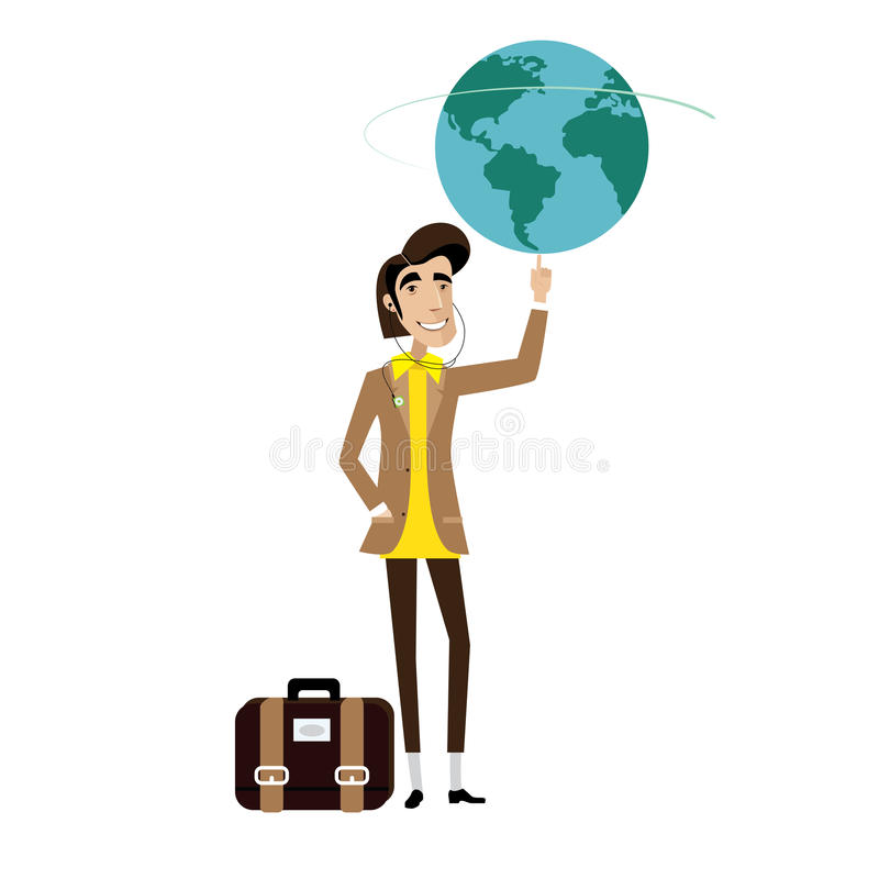 Traveller man spinning globe on finger vector illustration