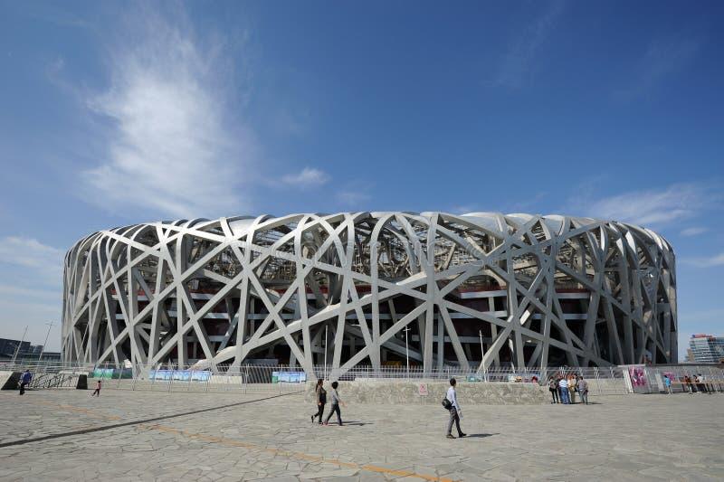 Travellers in The Beijing National Stadium stock image