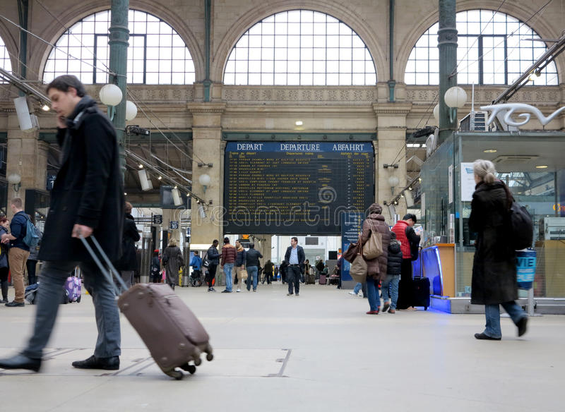 Travellers in Gare du Nord. Travellers rushing in Gare du Nord Paris railway station stock images