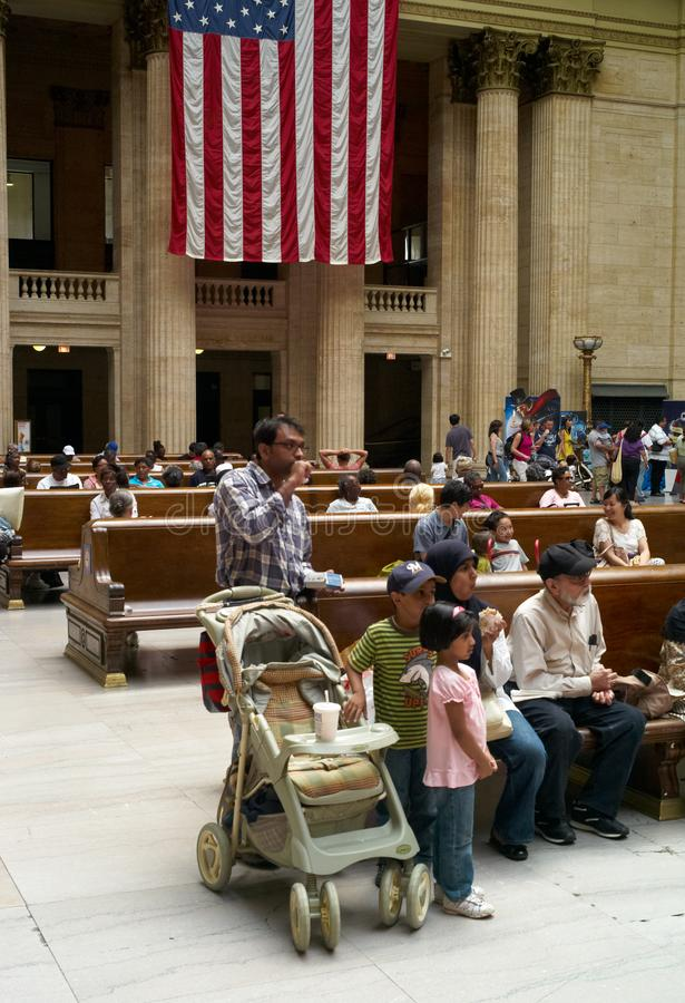 Travellers Waiting Inside Chicago Union Station stock image