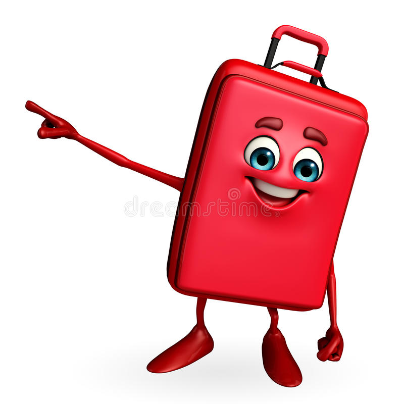 Travelling Bag Chatacter Is Pointing Stock Illustration