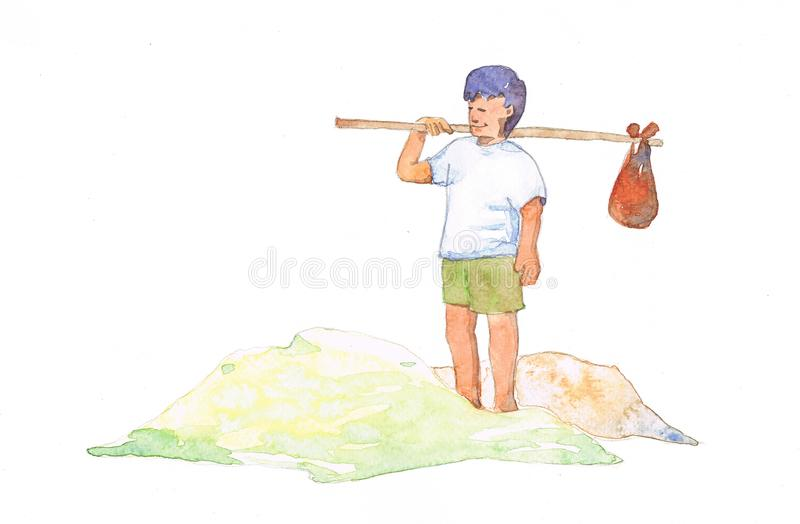 Download Travelling Boy In Water Color Stock Illustration - Illustration of avoid, child: 14242787