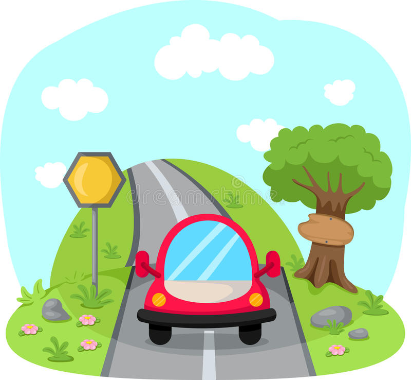 Travelling car on country road vector illustration