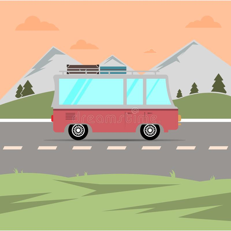 travelling composition with the car summer holidays EPS10 vector illustration