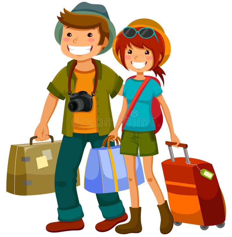 Travelling couple vector illustration