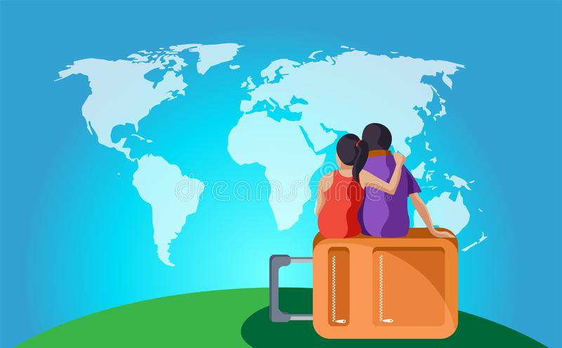 Travelling couple sitting on bag and looking world map royalty free illustration