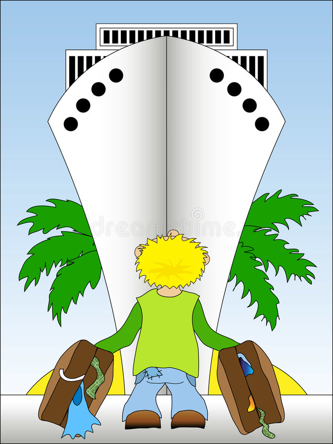 Travelling by cruise ship stock illustration