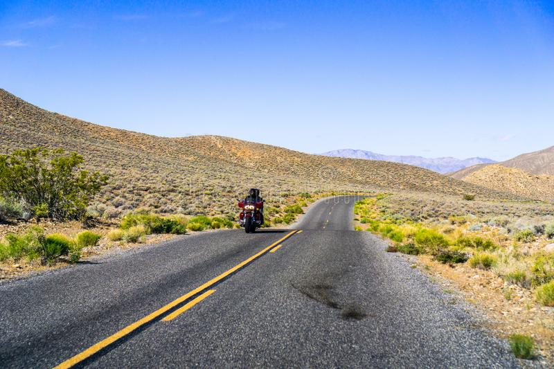 Travelling on the Emigrant Canyon road early in the morning, Death Valley National Park, California royalty free stock image
