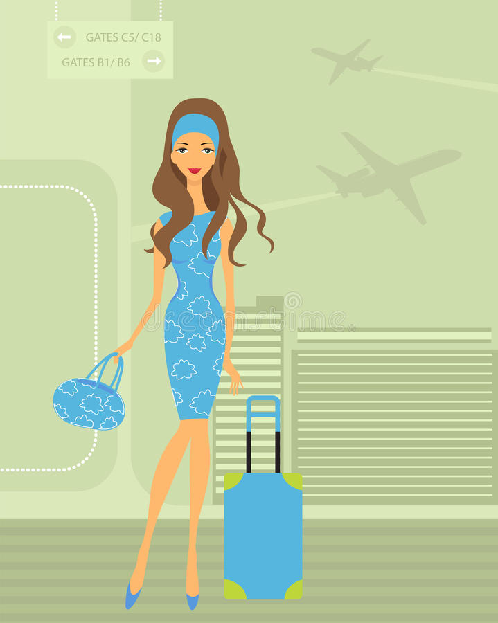 Travelling girl vector illustration