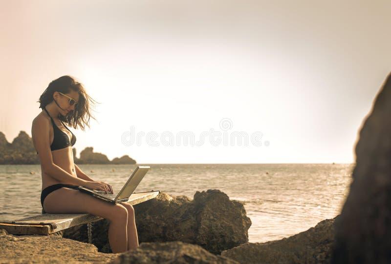 Travelling girl stock photo