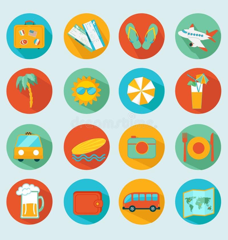 Travelling icons set stock illustration