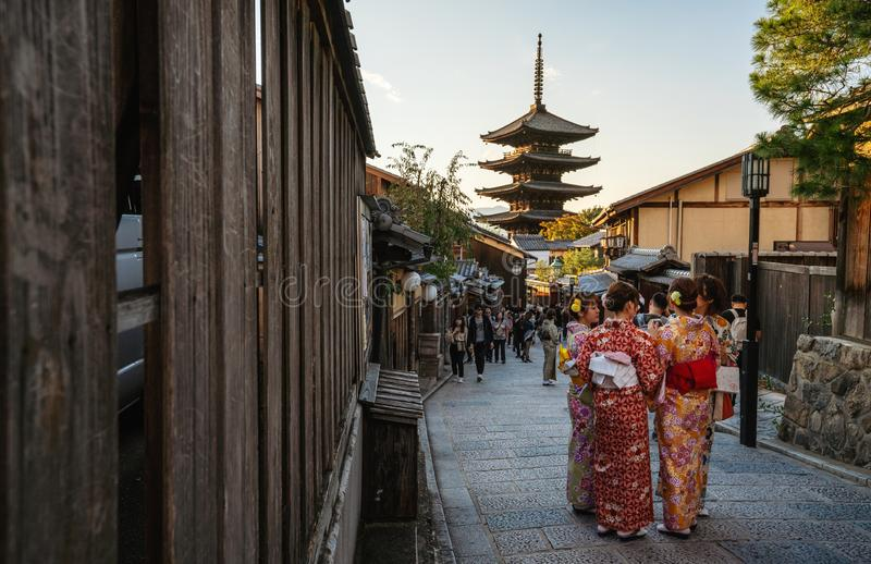 Travelling in Japan. Kyoto landmark, Yasaka Pagoda with people in Kimono and tourists in Kyoto, Japan. Travelling in Japan. Kyoto landmarks, Yasaka Pagoda with royalty free stock photos