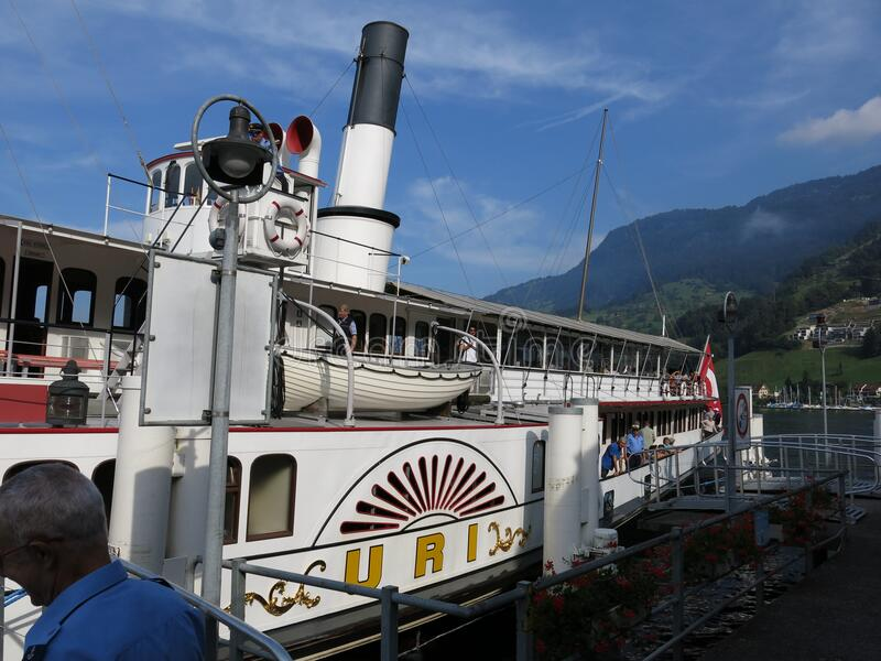 Travelling on the Lake Lucerne aboard the steam ship DS Uri stock photo