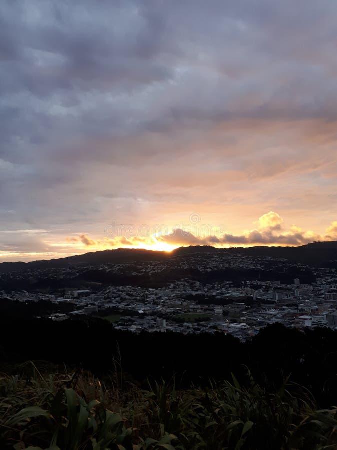 Sunset Wellington New Zealand stock photography