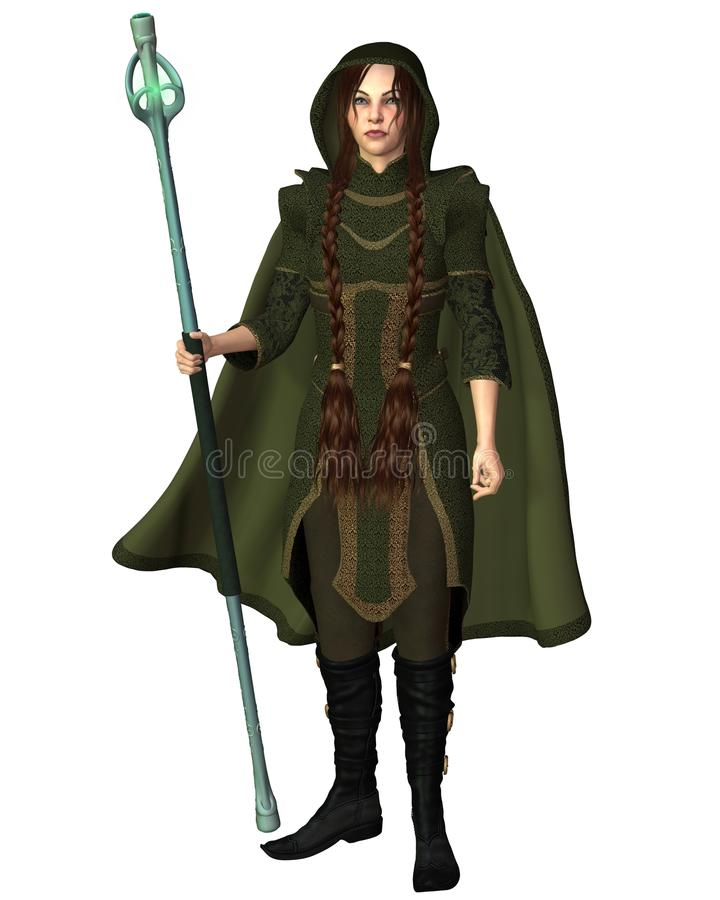 Travelling Magic User with Staff stock illustration