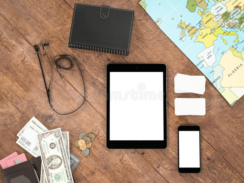 Travelling mockup business template. High resolution 3d render vector illustration
