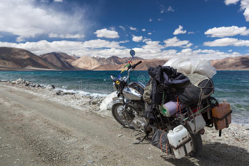 Travelling near Pangong lake in Ladakh by vintage. royalty free stock images