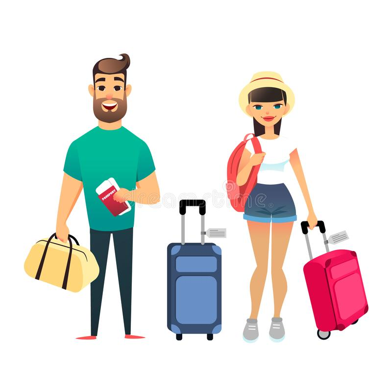 Travelling people waiting for airplane or train. Cartoon man and woman traveling together. Young cartoon couple go on vector illustration