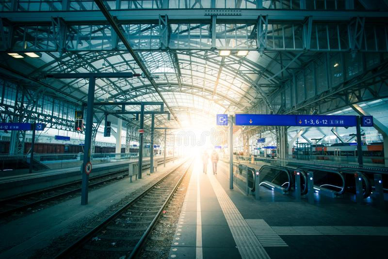 Travelling scene on a train station, public transport: rail platform or track. Travelling scene on train station, rail platform or track public transport journey royalty free stock photo