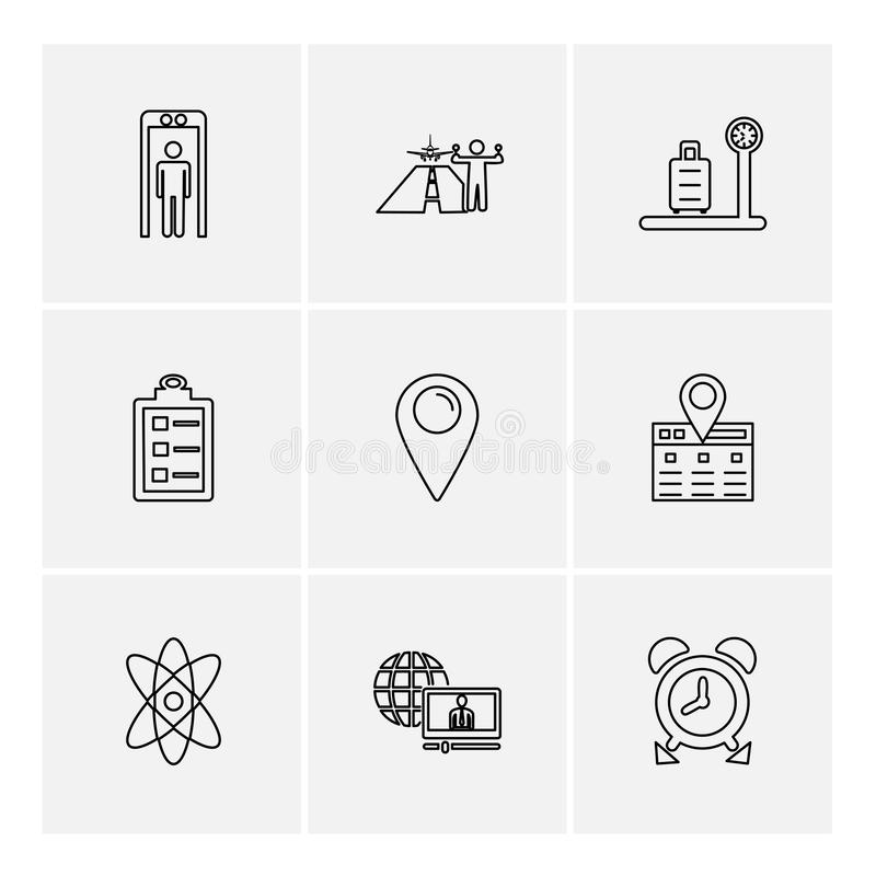 Travelling , travel , location , navigation , shopping , eps icons set vector. Travelling , travel , location , navigation , shopping , map , destination , cart stock illustration