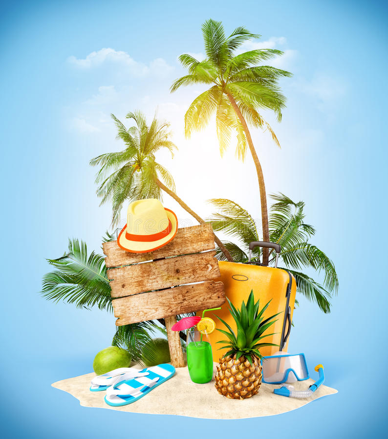 Travelling. Tropical island. Creative collage. Travelling