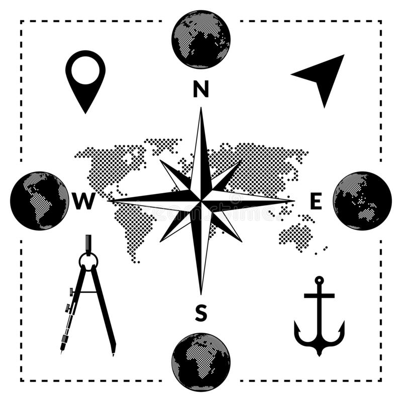 Travelling vector set of dotted map, globes series, compass and location icons. Travelling set of dotted map, globes series, compass and location icons. Vector stock illustration