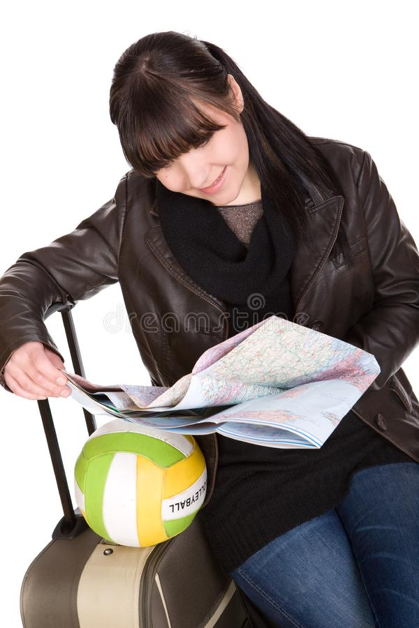 Download Travelling woman stock photo. Image of hand, going, brunette - 8509890