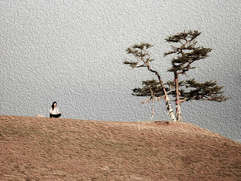Travelling woman meditating near pine with ribbons, girl sitting in serenity pose. Travelling woman meditating near pine with ribbons. Sacred tree of Buddhist vector illustration