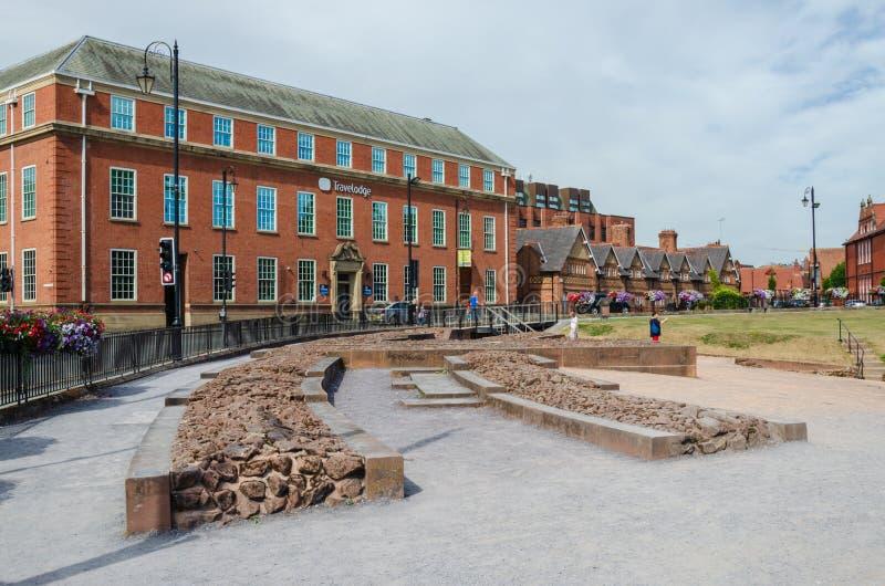 Travelodge y amphitheatre en Chester fotografía de archivo