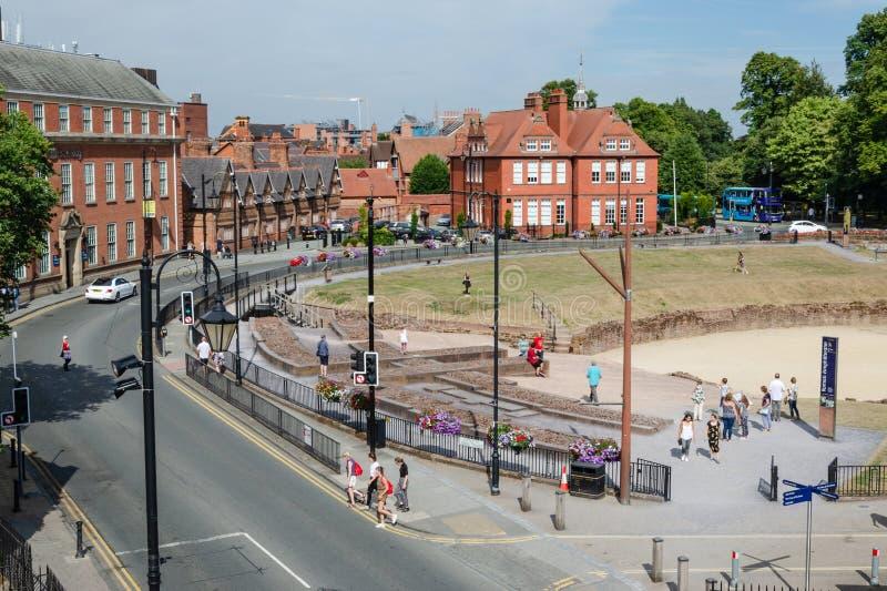 Travelodge y amphitheatre en Chester fotos de archivo