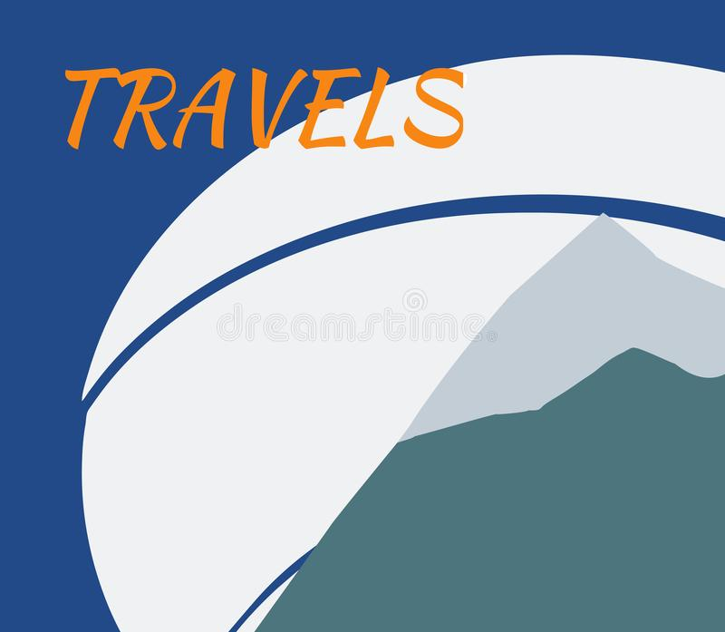 The travels, mountain landscape with a river vector illustration