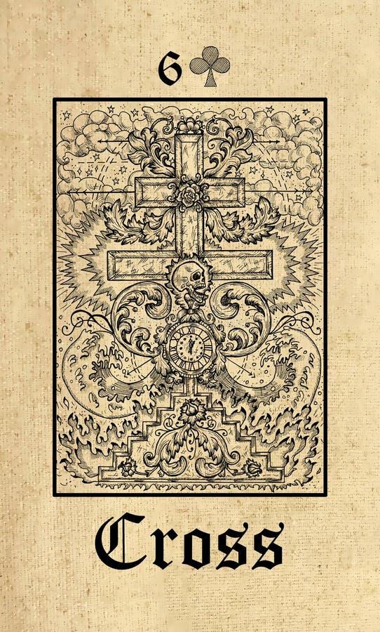 Traversa Carta di tarocchi dalla piattaforma gotica di oracolo di misteri di Lenormand illustrazione vettoriale