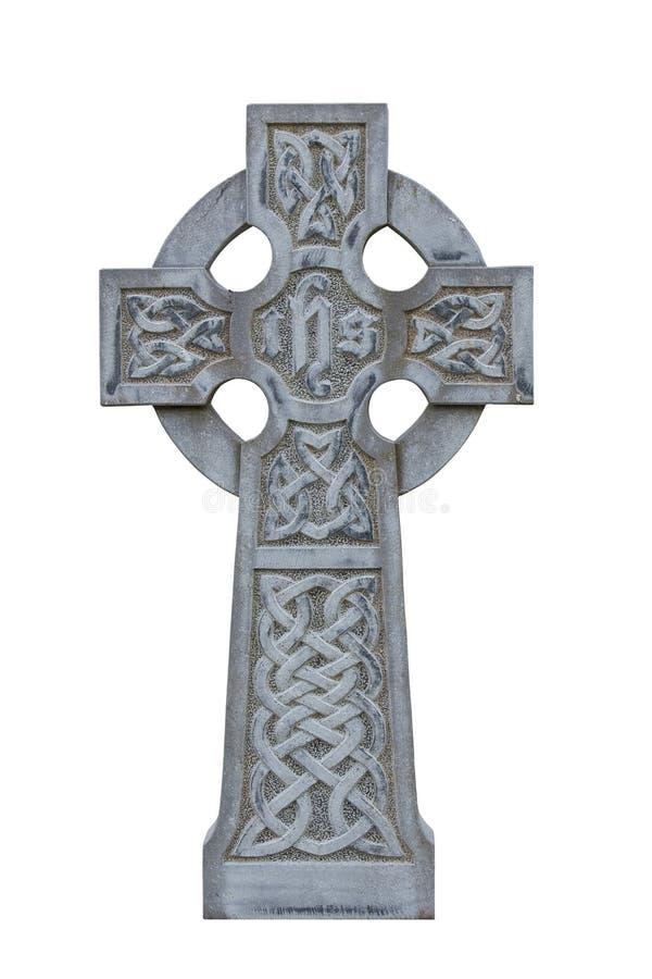 Traversa celtica della pietra tombale isolata fotografie stock libere da diritti