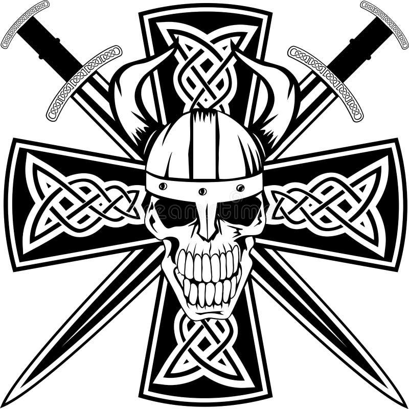 Traversa celtica e cranio illustrazione vettoriale