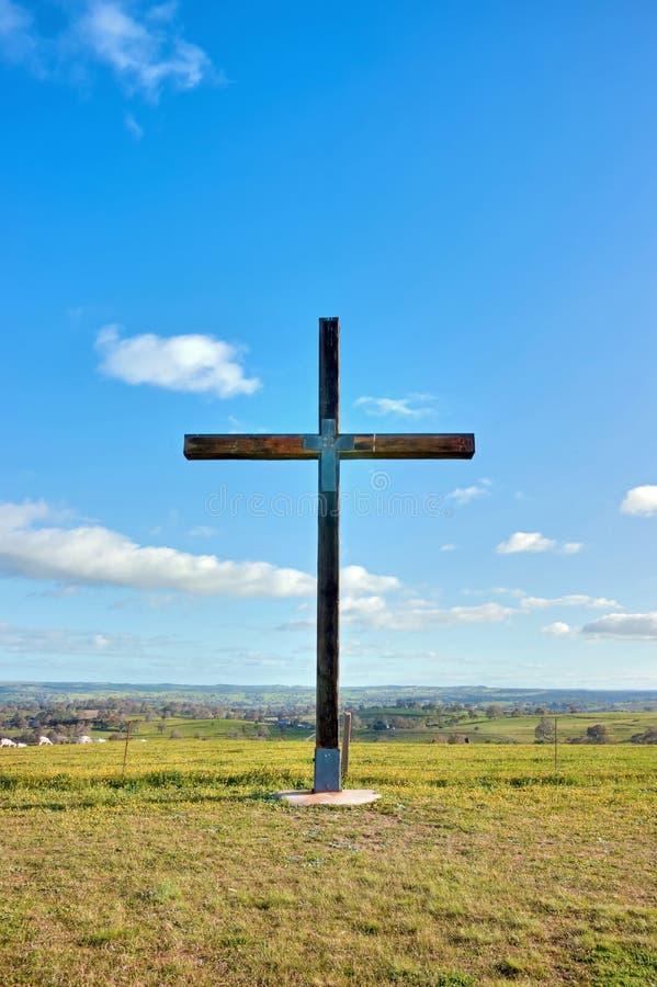 Traversa cristiana di christ nel campo fotografia stock libera da diritti